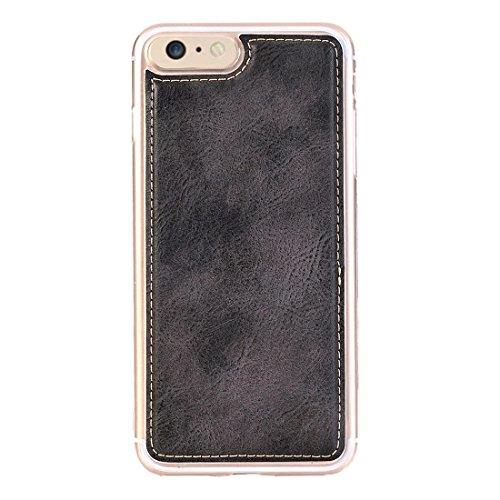 Retro Style Crazy Pferd Textur Horizontale Flip Leder Tasche mit abtrennbaren Rückseiten Cover & Zip Fastener & Card Slot & Wallet & Magnetic Gürtelschnalle für für iPhone 6 Plus & 6s Plus by diebelle Black