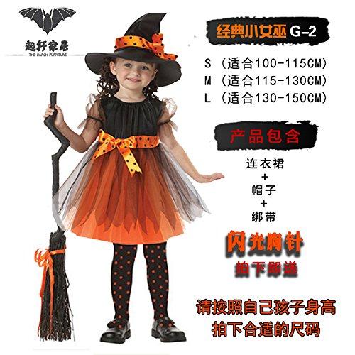 Clothingcosplay Hexe Umhang bat Prinzessin Kürbis fancy dress ChengBai's Halloween Kinder Party wird dazu dienen, die klassische kleine Hexe G-2, s