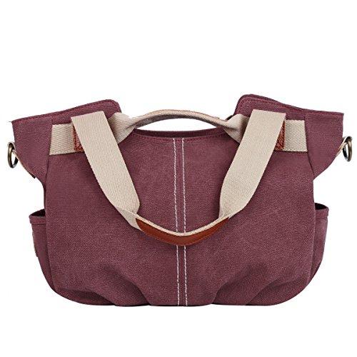 Eshow Damen Canvas Freizeit Täglich Schultertasche Handtasche Taschen, Lila