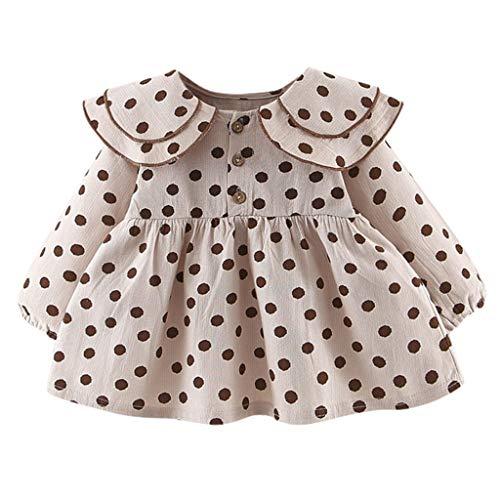 UULIKE--Baby Girls Long Sleeve Ruffles Dot Print Dresses Clothes Dress Newborn Infant Children Princess Dress Elegant Wedding Pageant Communion Party Dance Performance Birthday Beige