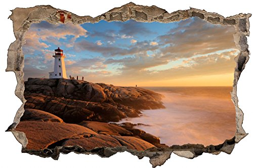 Leuchtturm Klippe Meer Wandtattoo Wandsticker Wandaufkleber D0780 Größe 60 cm x 90 cm (Vinyl-keller-fenster)
