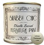 Shabby Chic Furniture Paint - Vernice a base di gesso per mobili, ottima per creare uno stile shabby chic, colore: oro metallizzato/champagne, 250 ml
