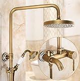 Antiquität Duschset Alle Kupfer Kann aufheben und unten Mischventil Badewanne Wasserhahn