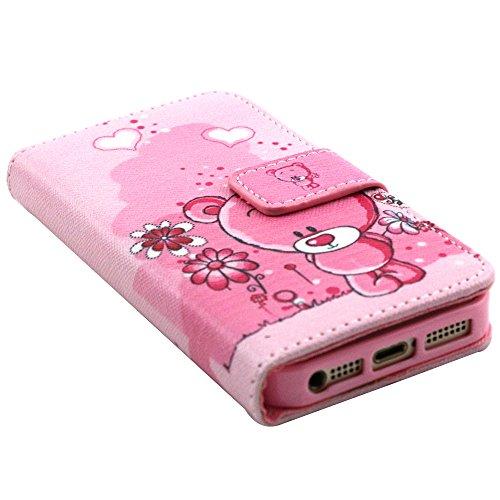 EUDTH iPhone SE Coque Peinture Style Housse Flip Cover Portefeuille Etui en Cuir de Protection Case vec B¨¦quille pour iPhone 5 / 5S / iPhone SE -YH06 YH03