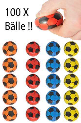 jameitop®⚽ Mega Set Fußball 100 Stück / weich / Antistress / Softball Mix Farben Ø 4 cm Ball ⚽ -