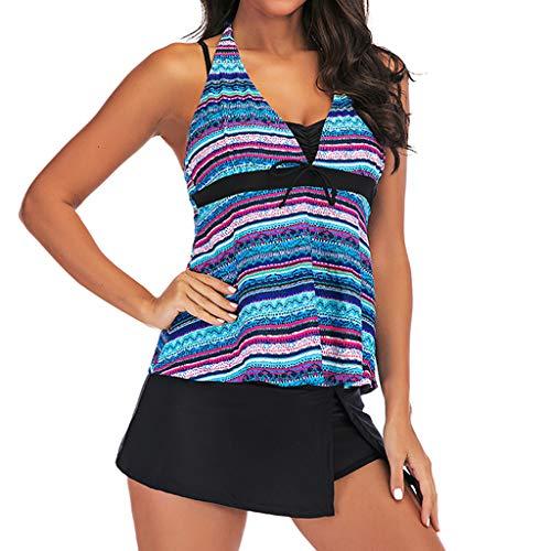 LILIHOT Frauen Plus Size Print Tankini Badeanzug Beachwear Gepolsterte Badebekleidung Damen Bikini Set High Waist Bademode Zweiteilige Strandkleidung Bikinihose