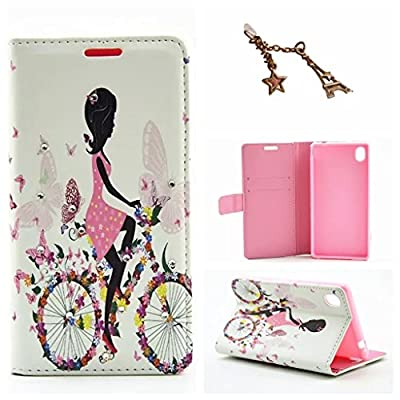 Uming® L Rhinestone Pretty Girl Series Colorful Pattern Print PU case Flip Holster with Bling Shiny Glitter Diamond Holder Wallet Hasp Magnet Button Shell Protective Mobile Cellphone Case Cover Bag + 1 x Anti Dust Plug by Uming