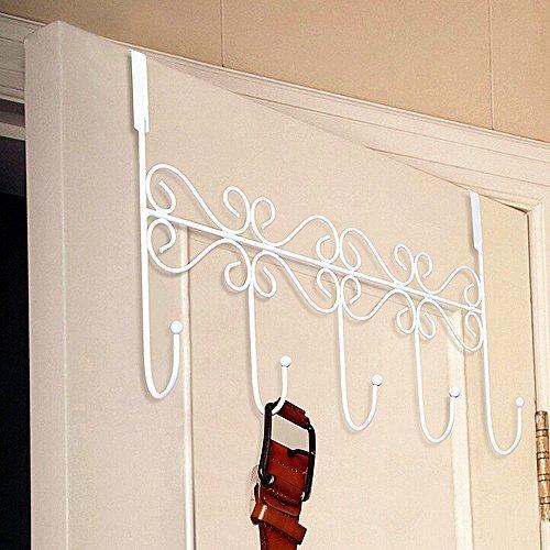 CrazySell Ohne Anlage Über Der Tür Eisen 5 Haken Türhaken für Tasche Kleidung, Mäntel Hüte Roben Handtücher (5 Hooks (White))
