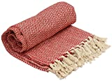 SouvNear 100% Cotton Southwest Throws - Chevron Herringbone Hand Woven 165 x 132 cm - Throw Blanket - Orange & White - Reversible with Tassels for Couch Chair & Sofa – Home Decor Furnishings