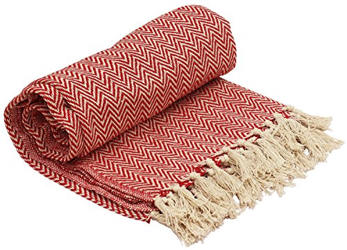 SouvNear Überwurfdeckeim indianischen Southwest-Stil, handgeflochten 100 % Baumwolle Chevron-Sofaüberwurf, Orange & Weiß,...