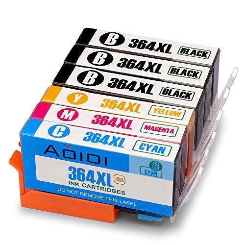 Aoioi 4 Colori Cartucce Stampante Sostituzione per HP 364XL 364 Compatibile con Cartucce HP Deskjet 3520, Cartucce HP Officejet 4620, Cartucce HP 5520 6520 5510 7520 5524 7510 6510 5515 5514 5511 5522 Premium C309A C310A C410b B010 B109a B110 photosmart(3 Nero, 1 Ciano, 1 Magenta, 1 Giallo)