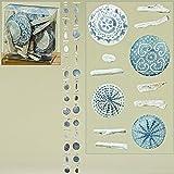 Home Collection 2er Set sort. Capiz Girlande Windspiel L180cm grau mit Ornamenten und Treibholz