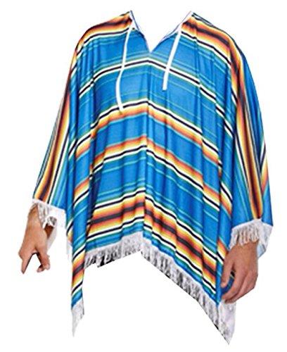 zug Turquoise Poncho Only Large (Erwachsene Poncho Blue M & M's Kostüme)