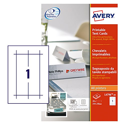 Avery L4796-20 Bedruckbare Tischkarten, 20 Blatt (Avery Tischkarten)