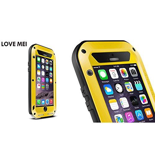 Love Mei Wasserdicht für Apple iPhone 6Plus 6+ (14cm), Aluminium Legierung Gorilla Metall Fall Mit Display Schutz gelb