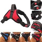 Heavy Duty Nylon Hundegeschirr Gepolsterte Extra Große Große Mittel Kleine Hunde (Rot, S)
