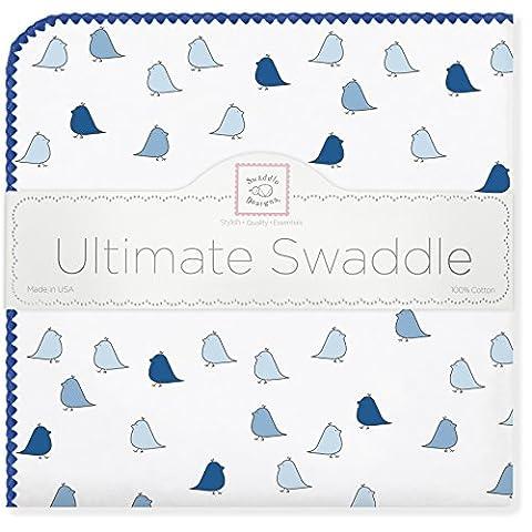 SwaddleDesigns Ultimate Couverture Emmailotage, Flanelle de Coton de première qualité, Petits Poussins, Bleu Roi