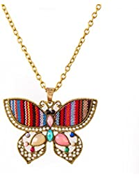 IGP Flirty Butterfly Shape Long Chain Fashion Pendant Necklace For Young Women And Girls