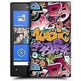 Etui de créateur pour Nokia Lumia 520 - Etui / Coque / Housse de protection blanc en Plastique Rigide (arrière rigide) avec motif bombe de graffiti ( jaune/bleu/violet/rouge)