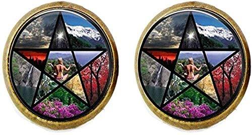 Pendientes de pentagrama vintage Wicca Occult