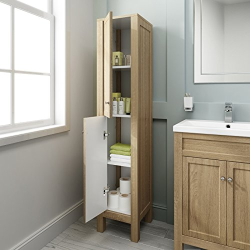 Creative Light Oak Bathroom Furniture Large Sink Unit Set With Two Cupboards