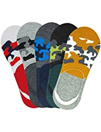 Miss U Men's No Show Socks with Anti Slip Silicon System (Orange, Black, Blue, Grey, Red) (Pack of 5)