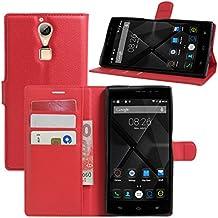 Doogee F5funda, DOOGEE F5Pro Case, hualubro [Kickstand] [Protección Todo Alrededor] Funda de piel sintética Teléfono móvil Carcasa Con Ranura para tarjeta DOOGEE F5/doogee F5Pro 5.5pulgadas Smartphone, piel sintética, Rojo, For Doogee F5 / Doogee F5 Pro