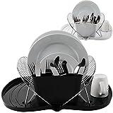 Oramics Abtropfgestell Geschirrkorb mit faltbarem Abtropfgitter und Auffangwanne – in Weiß oder Schwarz 48 x 37 x 19 cm (ausgeklappt) – Besteckkorb für Teller, Besteck, Tassen und Gläser (Schwarz)
