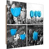 Quadro Decorativo Collage Stampa Moderno Tulipani Fiore Giardino Blu 80x80 cm