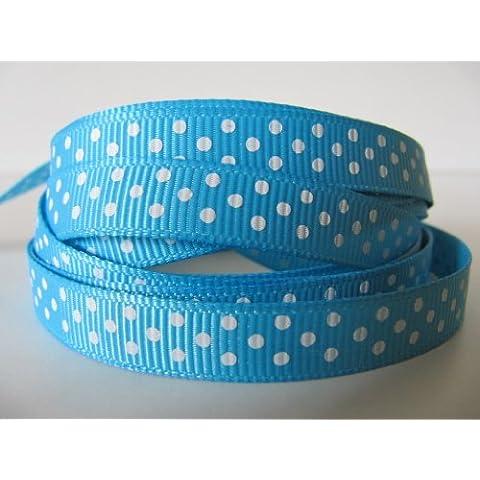 5 m x 10 mm micro lunares grosgrain cinta (azul)- color azul con lunares blancos