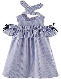 2PCS Set , Bambini Vestito + Fascia - feiXIANG®�� vestito da principessa i bambini si vestono abbigliamento per bambini vestito da bambino gonna abito senza spalline Stripe