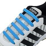 Newkeen No Tie Shoelaces für Kinder und Erwachsene Wasserdichte Silikon flache elastische Sportlauf Schnürsenkel mit Multicolor für Sneaker Stiefel Brettschuhe und Freizeitschuhe (Blue)