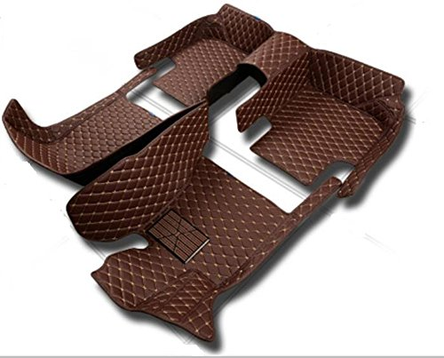 Yaojinyi Bentley GT Car Floor Mats 2011 ( ECO-Friendly XPE Leather 5D Diamond Stitching Designed) No Smell (Coffee leather with beige stitching)