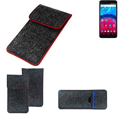 K-S-Trade® Filz Schutz Hülle Für Archos Core 57S Schutzhülle Filztasche Pouch Tasche Case Sleeve Handyhülle Filzhülle Dunkelgrau Roter Rand