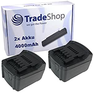 2x Batterie LI-ION haute performance, 14,4V/4000mAh Remplace Metabo 6.25454, 6.25467, 6.25456, 6.25458, 6.25468, 625498000, 625526000, c98116pour Metabo BS RC SB SSD SSW Ula 14.4