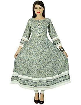 Phagun algodón florales Bollywood Kurta Mujeres étnico Kurti ocasional superior de la túnica vestido