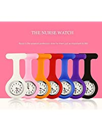 Liroyal New Fashion Silicone Nurses Brooch Tunic Fob Watch New With FREE BATTERY£¬Orange