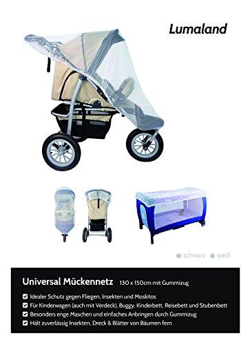 Lumaland mosquitero universal de cochecito para carrito de niños con elástico negro