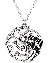 """Collar Sautoir colgante dragón de Daenerys Targaryen """"The song of ice and fire–Game of Thrones"""" """""""" La Canción de la hielo y del fuego–el trono de hierro, acero cromado Vintage, Unisex"""