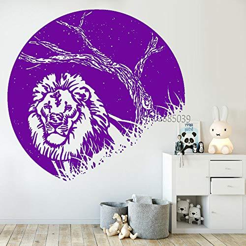 guijiumai Design Nachtansicht Aufkleber Vinyl Wandaufkleber Lion at Night Kreative Schlafzimmer Wanddekor Wandbilder Moderne Dekoration L 4 84X87 cm