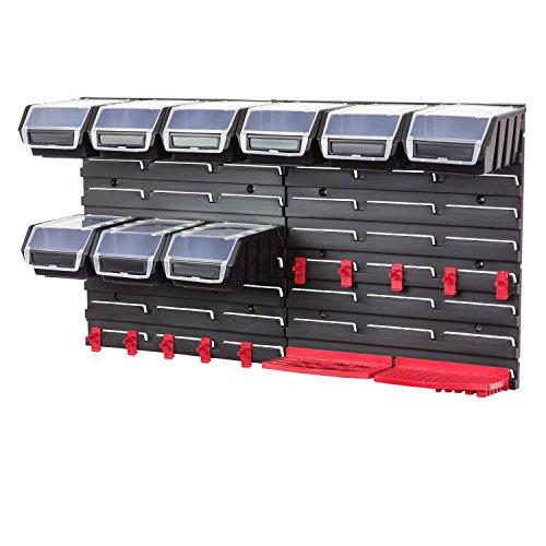 Werkzeugwand Wandregal inkl. Stapelboxen mit Deckel schwarz Werkzeug Halterung Lagerregal