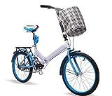 Faltrad 20-zoll Fahrrad Sitzrohr Stoßdämpfer Erwachsene Singlespeed Männlichen Und Weiblichen Studenten Mini Student Fahrrad,Blue-20in