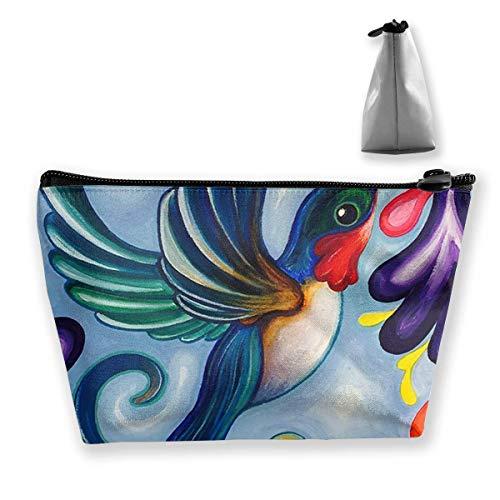Bunte Hummingbird Trapezoid Aufbewahrungstasche Make-up Tasche Pouch Tasche Federmäppchen Mode Handtasche Hummingbird Fish