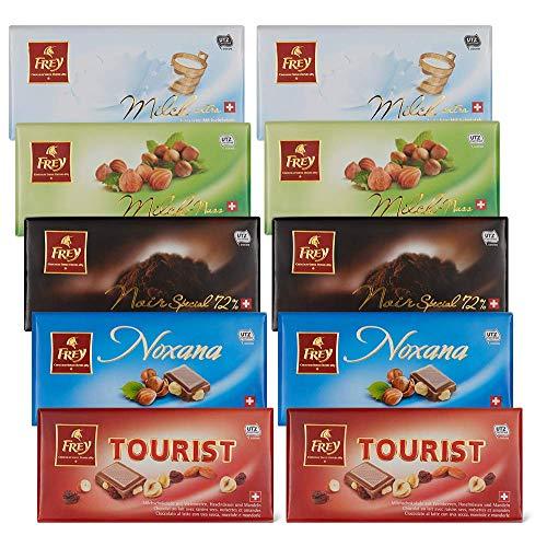 Frey 10x klassische Schokoladentafeln aus 5 Sorten - Classic Mix - Schweizer Schokolade Tafel - Großpackung 10x 100 g - UTZ-zertifiziert - Schokoladengeschenkset