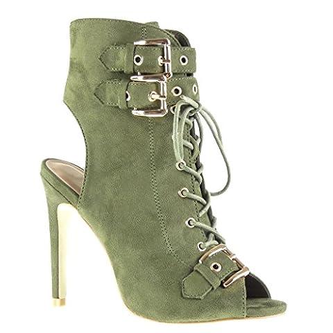 Angkorly - damen Schuhe Stiefeletten Sandalen - Stiletto - Offen - String Tanga - Schleife - Spitze Stiletto high heel 12 CM - Grüne AF-756 T