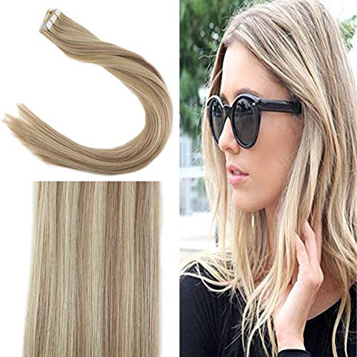YoungSee 60 cm Tape in Extensions Echthaar Blond Gestrahnt (#18/613) Gute Qualitat Human Hair Extensions Tape Echthaar Blond 20pcs/50g