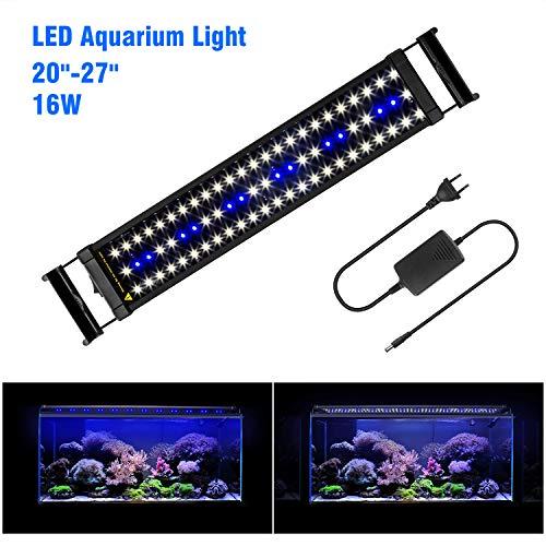 """FTALGS Aquarium LED Aquarium Beleuchtung, Aquariumbeleuchtung Lampe Weiß Blau Licht mit Verstellbarer für Aquarium (60A=20""""- 27""""(50CM))"""