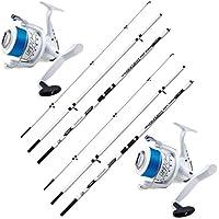 Lot de 2cannes à pêche Surf Shizuka SH1300450300g + 2moulins 7000