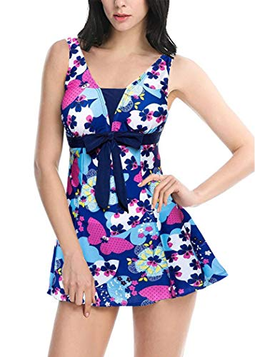 AOQUSSQOA Damen Einteiliger Badeanzug Figurformender Bademode Push up Bauchweg Badeanzüge für Frauen Sexy Hohe Taille Tankini Set mit Röckchen (EU(40-42), Schmetterling)