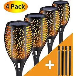 Tooklanet Lampe Torche de Jardin,Lumières Solaire de Flammes Exterieur avec USB Chargement 96 LED Vacillantes de Sécurité,Décoration de Chemins Patio Noël Fête ( pack de 4)